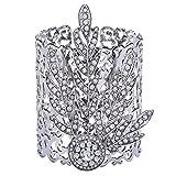 ArDeco 1920s Stil Blatt-Medaillon Armband Damen Gatsby Motto Party Zubehör 20er Jahre Kostüm Accessoires für Damen (Silber)