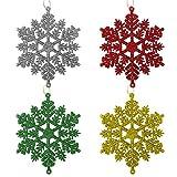 12 Pezzi Brillantini Fiocco di Neve Ornamenti Plastica da Appendere Fiocco di Neve 4.4 Pollici con Corda per Natale Decorazione Albero di Natale Abbellire (Multicolore)