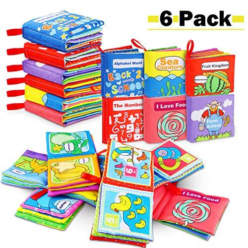 , Soft-Bilderbuch Baby Spielzeug Pädagogisches Kleinkindspielzeug Baby Buch zur Stärkung der Eltern-Kind-Beziehung ab 3 Monaten (Packung mit 6) ()