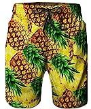 Herren Badeshorts Hawaii Boardshorts Badehose mit Taschen Gelbe Ananas 3D Gedruckte Shorts Lustige Badeshorts Badeanzüge Brasilianische Badeshorts Knielange Strand Shorts Badehosen für Männer