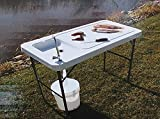 Camping Table with Sink 115x60 cm High Table for Camping Kitchen or BBQs