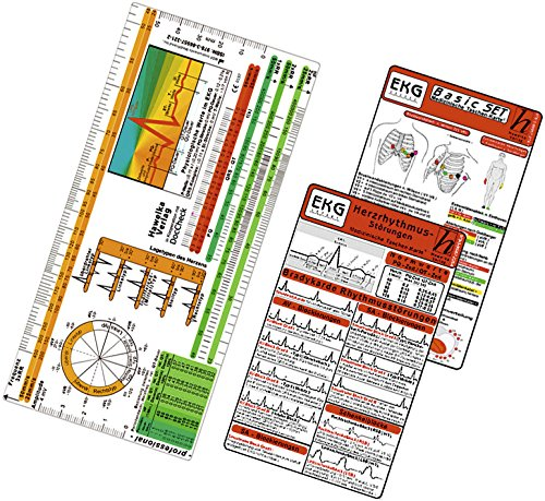 EKG Basic Set -professional- 3er Set - EKG Lineal professional II - 2015 plus Herzrhythmusstörungen, EKG Auswertung