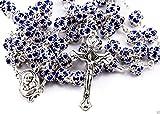 Blue Zircon cristales perlas rosario católico collar medalla de suelo santo y crucifijo