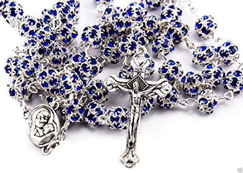 Blue Zircon Crystals Beads Rosary Catholic Necklace Holy Soil Medal & Crucifix