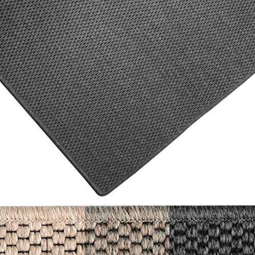 casa pura Moderner Teppich in Premium Sisal Optik | ausgezeichnet mit GUT-Siegel | pflegeleichtes Flachgewebe | viele Größen (anthrazit, 160x230 cm)