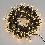 LuminalPark LED-Lichterkette 20,4 m, 200 LEDs Pisello warmweiß, grünes Kabel, 8 Lichtspiele, mit Memorycontroller, Zuleitungskabel 4 m, 24VTrafo inklusive, innen/außen