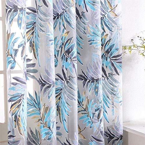 PENVEAT Tüll-Vorhänge mit tropischen Blumen und Blättern für Wohnzimmer, Küche, Vorhänge, Schlafzimmer, Fenster, Vorhang, Blau-Blätter, 100 x 130 cm