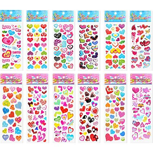 TUPARKA 60 Blatt Valentinstag 3D Aufkleber für Kinder, Geschenk Austausch DIY Handwerk in der Schule oder zu Hause (12 Styles)