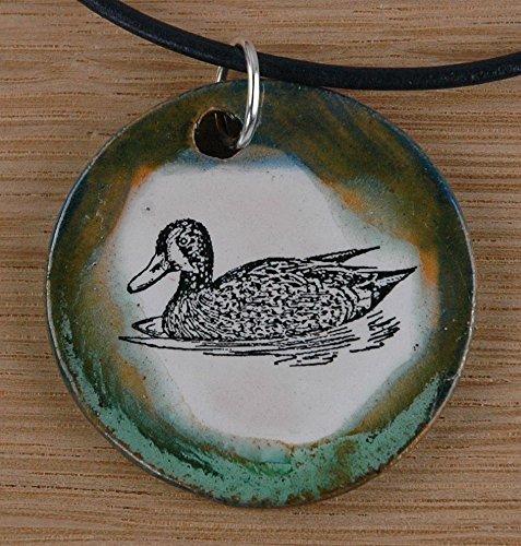 Echte Ente (Echtes Kunsthandwerk: Schöner Keramik Anhänger mit einer Ente; Vogel, gefiederter Freund, See, Teich)