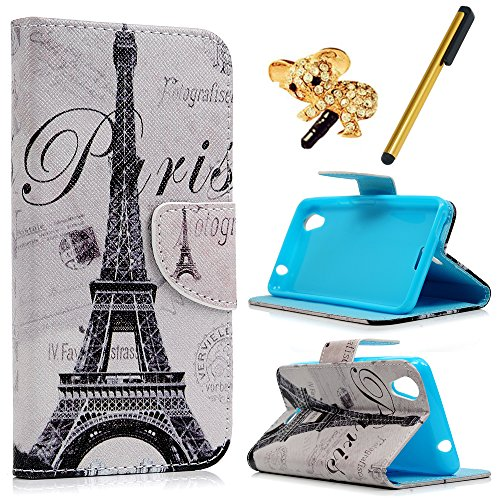Maxfe.co custodia cover flip case per wiko rainbow jam 4g- in pelle sintetica ecopelle pu custodia case cover protezione chiusura - disegno tower paris + stylus + coperchio antipolvere