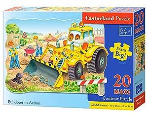 Castorland Bulldozer in Action 20 Maxi pcs Contour Puzzle 20 Pieza(s) - Rompecabezas (Contour Puzzle, Dibujos, Preescolar, Niño/niña, 4 año(s), Interior)