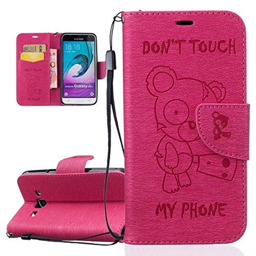 ISAKEN Funda para Samsung Galaxy J3 2016, Cartera Fundas de PU Cuero Flip Standing Leather Wallet Case Cover Carcasa Funda con Portátil Correa para Samsung Galaxy J3 / J3 2016 (Oso Texto Rosa)