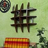 #9: Classic Shoppe Wooden Brown Wall Shelf Rack Globe Shape Storage