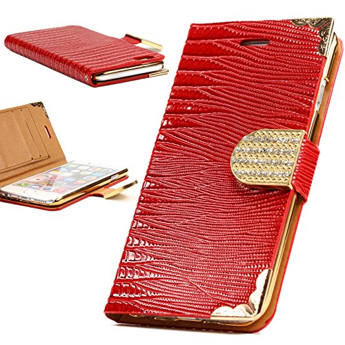 iPhone 6 Plus / 6s Plus Étui, Urcover Crocodile Bling Wallet Case [avec Support -Stand] Housse Blanc Coque Apple iPhone 6 Plus / 6s Plus Fermeture Magnétique Rouge