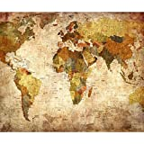 decomonkey | Fototapete Weltkarte 200x140 cm | Tapete | Wandbild | Riesen Wandbild | Bild | Fototapeten | Tapeten | Wandtapete |Wanddekoration | Vintage Retro Kontinente Atlas Landkarte