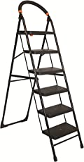 Parasnath Black Heavy Folding Ladder with Wide Steps Milano 6 Steps 6.1 Ft Ladder (Made in India)