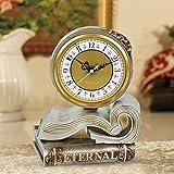 Horloge de style européen, salon, bureau, cloches, mode, créatif, livres, professeur, siège, cloche, couronne, bureau, horloge ( Couleur : Gris argent )