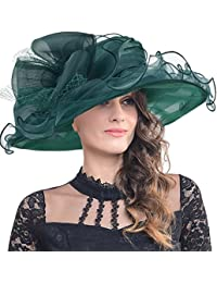 1306514911c FORBUSITE Lady s Organza Ascot Wedding Wide Brim Hat with Plump Flower