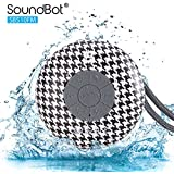 SoundBot® SB510FM FM RADIO Water Resistant Bluetooth Wireless Shower Speaker HandsFree Portable Speakerphone w/ Auto-Scan Channel, 6Hrs Music Streaming, Built-in Mic, Detachable Suction Cup & Lanyard