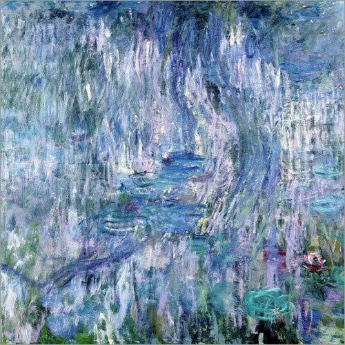 Poster 13 x 13 cm: Seerosen und Reflexionen von Einer Weide, 1916-1919 von Claude Monet/Bridgeman Images - hochwertiger Kunstdruck, neues Kunstposter -
