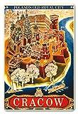 Póster Vintage de la Ciudad Real de la Isla de Pacifica con diseño de Cracow de la Ciudad Vieja de Polonia por Witold Chomicz c.1935