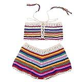 LHWY Bikini Damen Push Up, Frauen Bohemian Handmade Crochet Gestrickte Beach Bikini Set Bademode BH Badeanzug Streifen (M, Mehrfarbig)