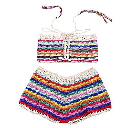 LHWY Bikini Damen Push Up, Frauen Bohemian Handmade Crochet Gestrickte Beach Bikini Set Bademode BH Badeanzug Streifen (M, Mehrfarbig) Handmade Crochet Mode