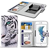 """Vivo Y69 (5.5"""") - Case PU Leather White Tiger Printed Design Pattern Wallet Clamp Style Spring Skin Cover"""