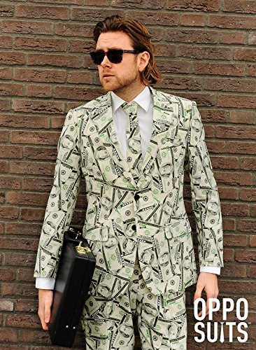 Geld Kostüm Anzug (Dollaranzug Cashanova Anzug Slimline Herren 3-teilig Premium Gr)