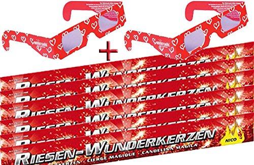 60 Wunderkerzen 45cm lang + Herzbrillen 3D