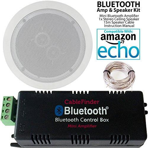 Smart Bluetooth-Verstärker & 2x Premium Dual Coil Stereo-Lautsprecher-Set (kompakt -, Badezimmer-/Küchen-Audio-Musik-Player, HiFi Mini-/Micro-AMP-System-Cablefinder