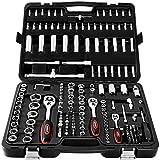 Monzana Werkzeugkoffer 192 teilig | Chrom-Vanadium-Stahl | praktischer Transportkoffer | Arbeitshandschuhe | Modellauswahl - Werkzeugkasten Werkzeugkiste Werkzeug Werkzeugbox bestückt