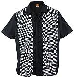 Aloha-Beachwear Herren Bowling Shirt Hemd Karo Check Ska Sheen Rockabilly kariert, Schwarz (L/Large)