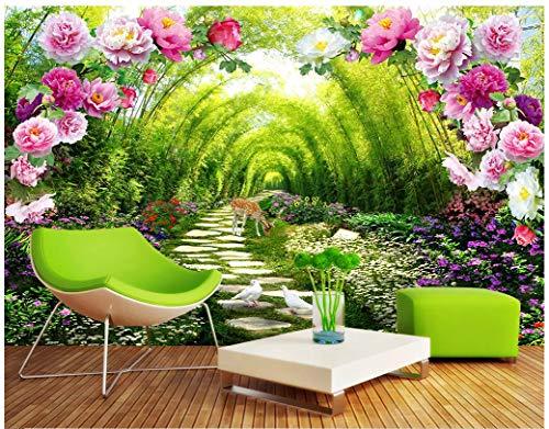 VVBIHUAING 3D Wand Wandbilder Dekorationen Tapete Aufkleber Bambuswaldblumenlandschaft Wohnzimmer Leder Kunst Kinderzimmer (W) 400x(H) 280cm -