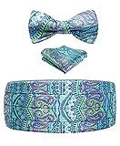 Herren Floral Paisley Seide Kummerbund & Selbst Bowtie & Einstecktuch Set grün blau