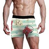 JIRT Slip Boxer da Uomo Stripe Owl Music Pattern Intimo Maschile Traspirante bauli Elasticizzati Bulge Pouch Morbide Mutande