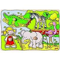 Goki - Puzzle encaje, en el zoo, 5 piezas, de madera (Gollnest & Kiesel 57590.0) - Peluches y Puzzles precios baratos