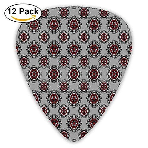 Persisch Blume (Persischer marokkanischer nahöstlicher Entwurf mit Blumen-Bild-Plektren 12 Pack Für E-Gitarre, Akustikgitarre, Mandoline und Bass)