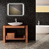 Mextronic Badspiegel mit Beleuchtung LED Lichtspiegel Premium SPGS025 70x50CM Touch+Digitale Uhr 22.5W mit TÜV Reihland LED Spiegel Wandspiegel