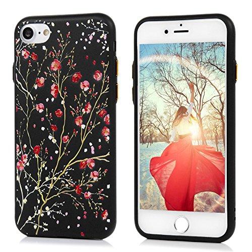 iPhone 7 Case iPhone 7 Handyhülle YOKIRIN Premium Relief Flexible TPU Silikon Case Schutzhülle Cover Handytasche Etui Handycase Slim Fit Rutschfest Kratzfest Silikonhülle Sonnenblume Granatapfel