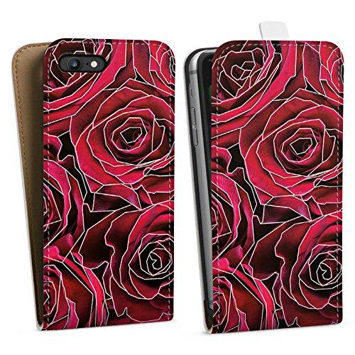 Apple iPhone X Silikon Hülle Case Schutzhülle Rosen Grafik Blumen Downflip Tasche weiß