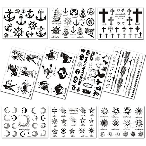 (10 pcs) lanseed temporary tattoo tatuaggi temporanei tatuaggi tatuaggi adesivi per tatuaggi per bambini, nero