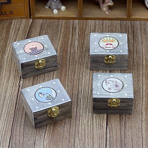 LanLan Cute Mini Wooden Music Box vintage Gift Decoration (Pattern Random) 15040 Clockwork Rotary Music Box