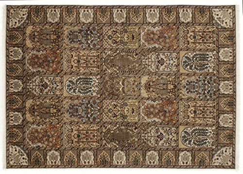 KIAN GHOM echter klassischer Orient Felderteppich handgeknüpft in creme-creme, Größe: 250x300 cm -