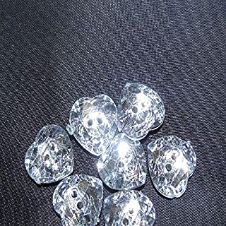 5 x Acrylic Diamante Buttons-Hearts 24 Line - 15 mm