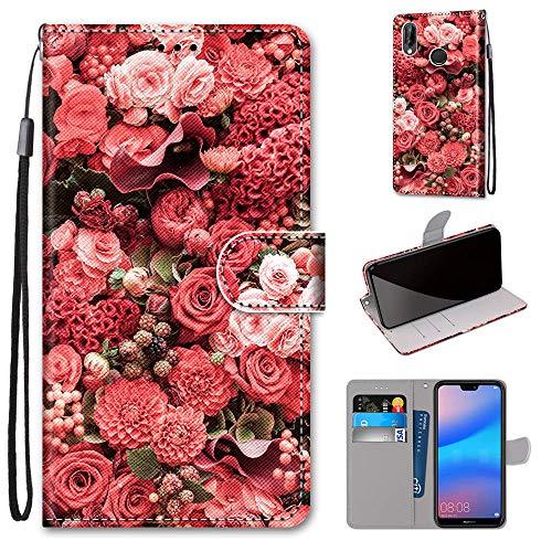 Miagon Flip PU Leder Schutzhülle für Huawei Y6 2019,Bunt Muster Hülle Brieftasche Case Cover Ständer mit Kartenfächer Trageschlaufe,Rose