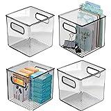 mDesign boite stockage pour la cuisine, salle de bain, bureau (lot de 4) – boite rangement en plastique avec poignées intégré
