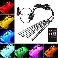 Favoto 4 Piezas Tira de LED Luz de Atmósfera del Interior de Coche Lámpara Barra de Decoración Kit de Iluminación con Control Remoto Inalámbrico de Música para Automóvil con 8 Colores