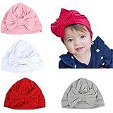 Baby Hat 4 pezzi neonato, 100% cotone morbido, elastico avvolgere la testa avvolgere infantile turbante bambino neonato ragaz