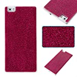 COZY HUT Huawei P8 Lite Case, Huawei P8 Lite Back Cover, Luxury Bling Shiny Sparkle Glitter Soft TPU Silicone Case Cover For Huawei P8 Lite - rose Red 5